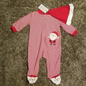 Carter's Santa Striped Footie with Hat size 3 mos.